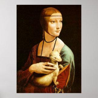 La señora con un armiño, Leonardo da Vinci Póster