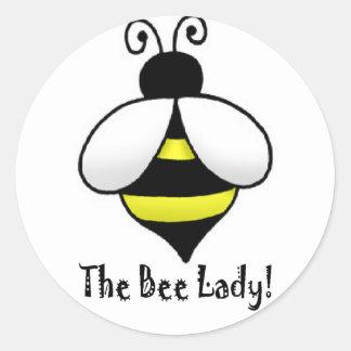 La señora de la abeja pegatinas redondas