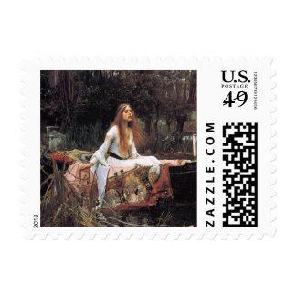 La señora de la pintura del shalott timbre postal