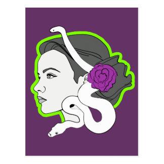 La señora de la serpiente tarjeta postal