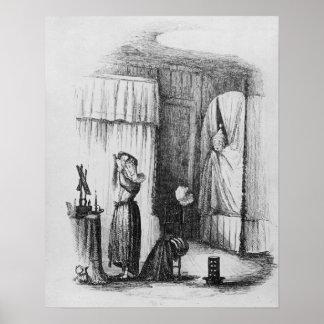 La señora de mediana edad en el cuarto Doble-Acost Póster
