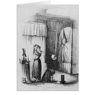 La señora de mediana edad en el cuarto Doble-Acost Felicitación
