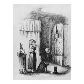 La señora de mediana edad en el cuarto Doble-Acost Postal