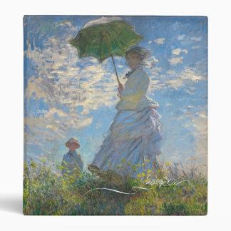 La señora de Monet con una carpeta del parasol