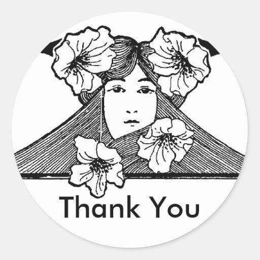 La señora de Nouveau del arte con las flores le Pegatina Redonda