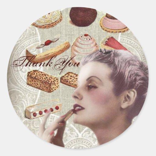 La señora de París del vintage de los pasteles de Pegatinas Redondas