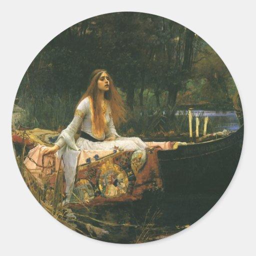 La señora de Shalott (en el barco) por el Pegatina Redonda