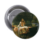 La señora de Shalott en el barco por el Waterhouse Pin Redondo De 2 Pulgadas
