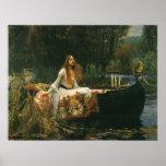 La señora de Shalott en el barco por el Waterhouse Póster