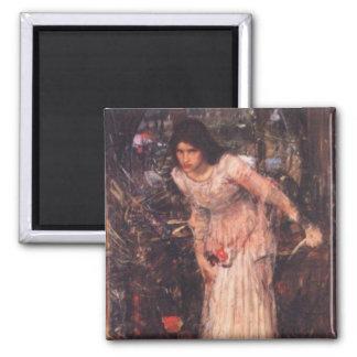 La señora de Shalott (estudio) Imán Cuadrado