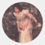 La señora de Shalott (estudio) Pegatina Redonda