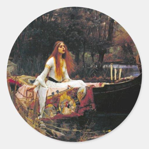 La señora de Shalott Pegatina Redonda