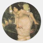 La señora de Shalott que mira Lancelot Etiqueta