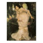 La señora de Shalott que mira Lancelot Postal