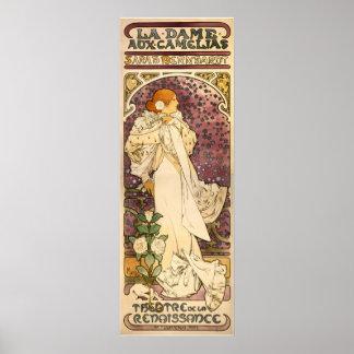 La señora del arte Nouveau del vintage de las came Póster