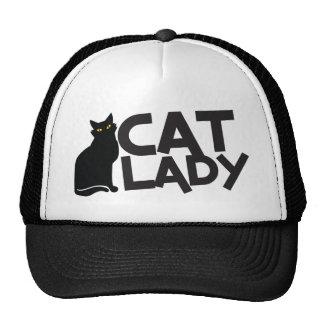 la señora del gato con amarillo furtivo del gato gorras de camionero