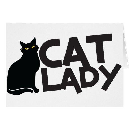 la señora del gato con amarillo furtivo del gato n felicitacion