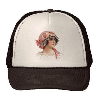 La señora del vintage en seda floreció el capo gorros bordados