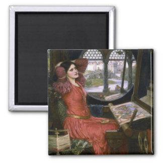La señora del Waterhouse de Shalott Imán Cuadrado