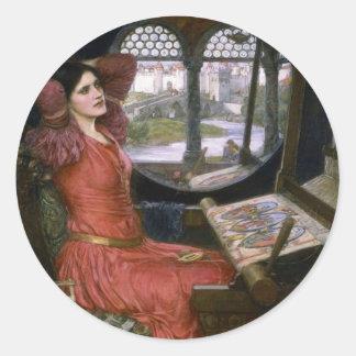 La señora del Waterhouse de Shalott Pegatina Redonda