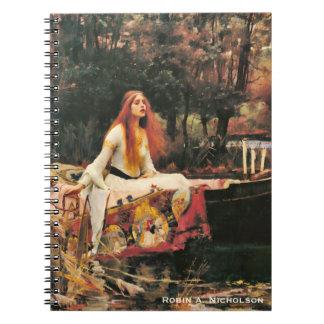 La señora del Waterhouse de Shalott personalizó Libro De Apuntes