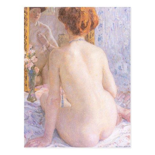La señora desnuda postal