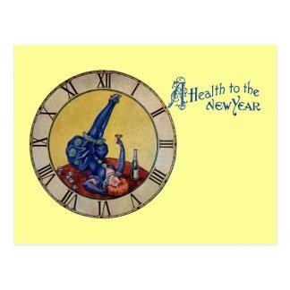 La señora en azul tuesta el Año Nuevo Tarjetas Postales