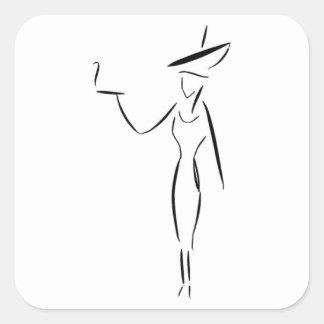 La señora en el gorra grande #1 pegatina cuadrada