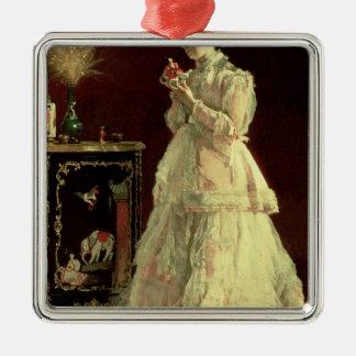 La señora en el rosa, 1867 adorno cuadrado plateado