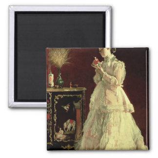 La señora en el rosa, 1867 imán para frigorifico