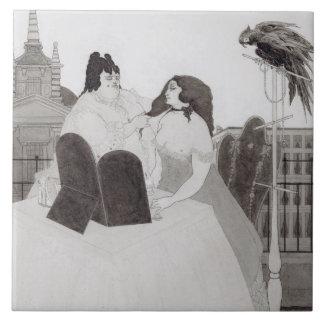 La señora en el tocador (tinta y lavado) azulejo cuadrado grande