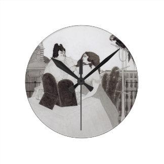 La señora en el tocador (tinta y lavado) relojes
