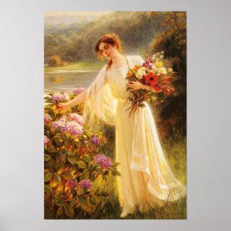 La señora hermosa, joven, florece, por Albert Póster