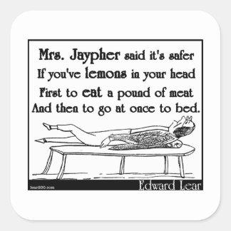 La señora Jaypher de Edward Lear Calcomania Cuadradas Personalizada