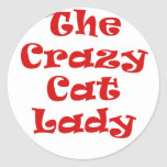 La señora loca del gato etiqueta redonda