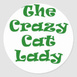 La señora loca del gato pegatina redonda