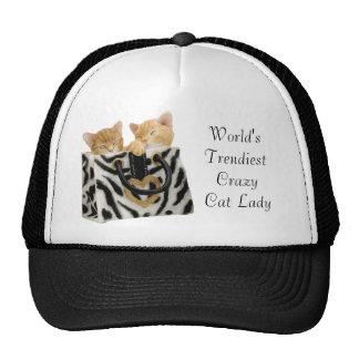 La señora loca más de moda Hat del gato del mundo Gorros Bordados