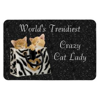 La señora loca más de moda Magnet del gato del mun Imán