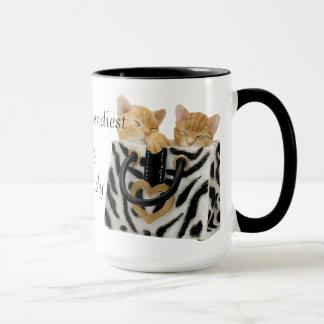 La señora loca más de moda Mug del gato del mundo Taza