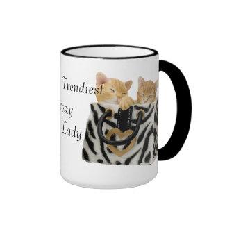 La señora loca más de moda Mug del gato del mundo Tazas