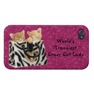 La señora loca más de moda Pink Glitter del gato iPhone 4 Fundas