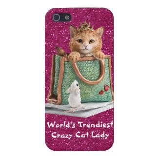 La señora loca más de moda princesa Kitten del gat iPhone 5 Fundas