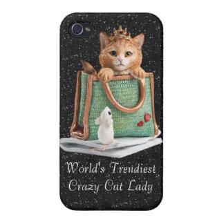 La señora loca más de moda princesa Kitten del gat iPhone 4 Cárcasa