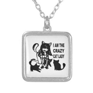 La señora loca Necklace del gato Colgante