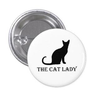La señora Pinback Badge Button del gato Pin Redondo De 1 Pulgada