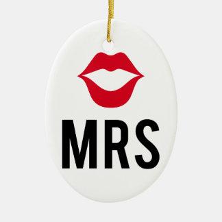 La señora texto con los labios rojos, para la adorno ovalado de cerámica