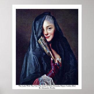 La señora With The Veil (la esposa de los artistas Póster
