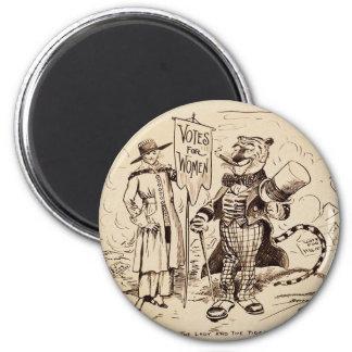 La señora y el tigre de Clifford K. Berryman Imán Redondo 5 Cm