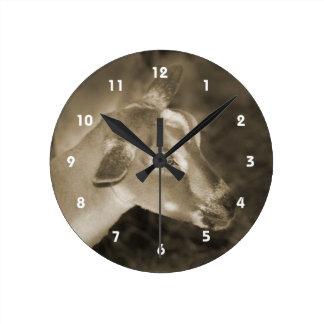 La sepia alpina de la gama afeitó la cara rayada c relojes de pared