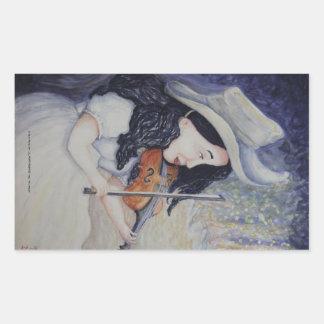 La serenata crepuscular otoñal de la mujer pegatina rectangular